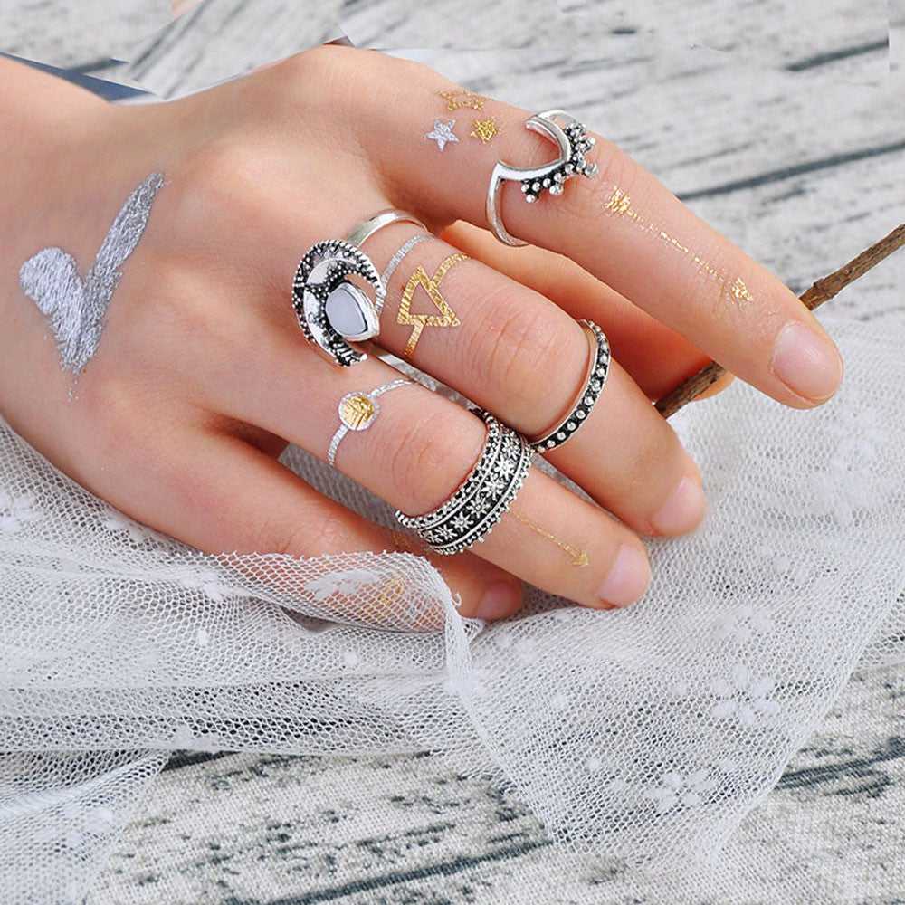 4PCS Vintage Crystal Flower Knuckle Ring Tibetan Turkish Fashion Gift