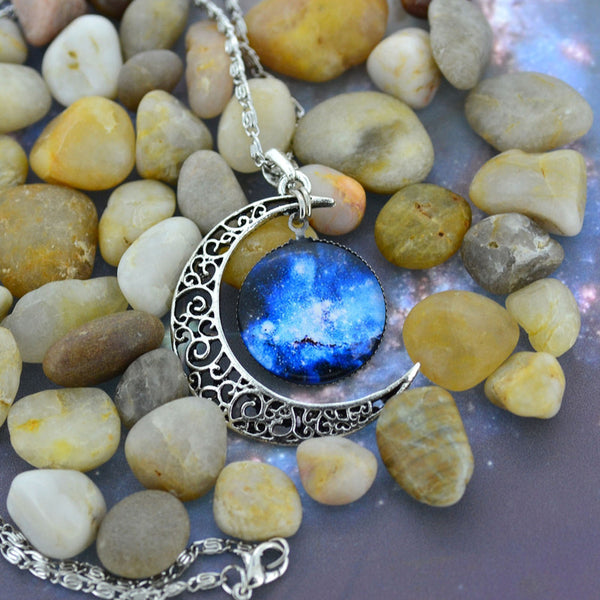 Antique Vintage Moon Time Necklace Sweater Chain Pendant Jewelry - Gisselle Morales