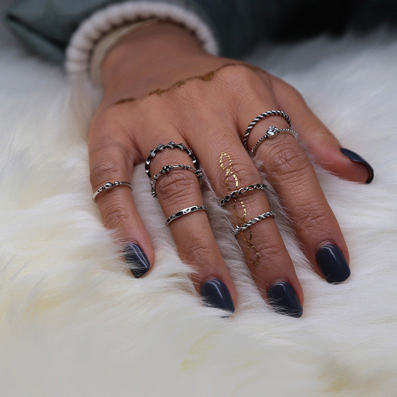 8pcs/Set Boho Style Bohemian Vintage Silver Stack Rings Above Knuckle Blue Rings Set - Gisselle Morales