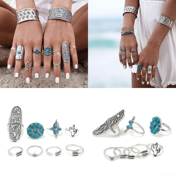 9pcs/Set Boho Style Bohemian Vintage Silver Stack Rings Above Knuckle Blue Rings Set - Gisselle Morales