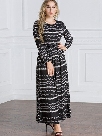 Boho Dress Round Neck Plus Size Black Day Dress