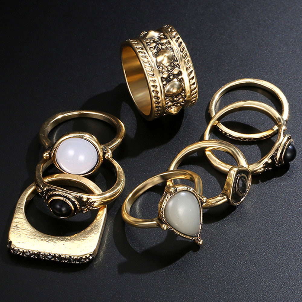 8Pcs/Set Vintage Silver Arrow Moon Finger Knuckle Rings Jewelry Gift - Gisselle Morales