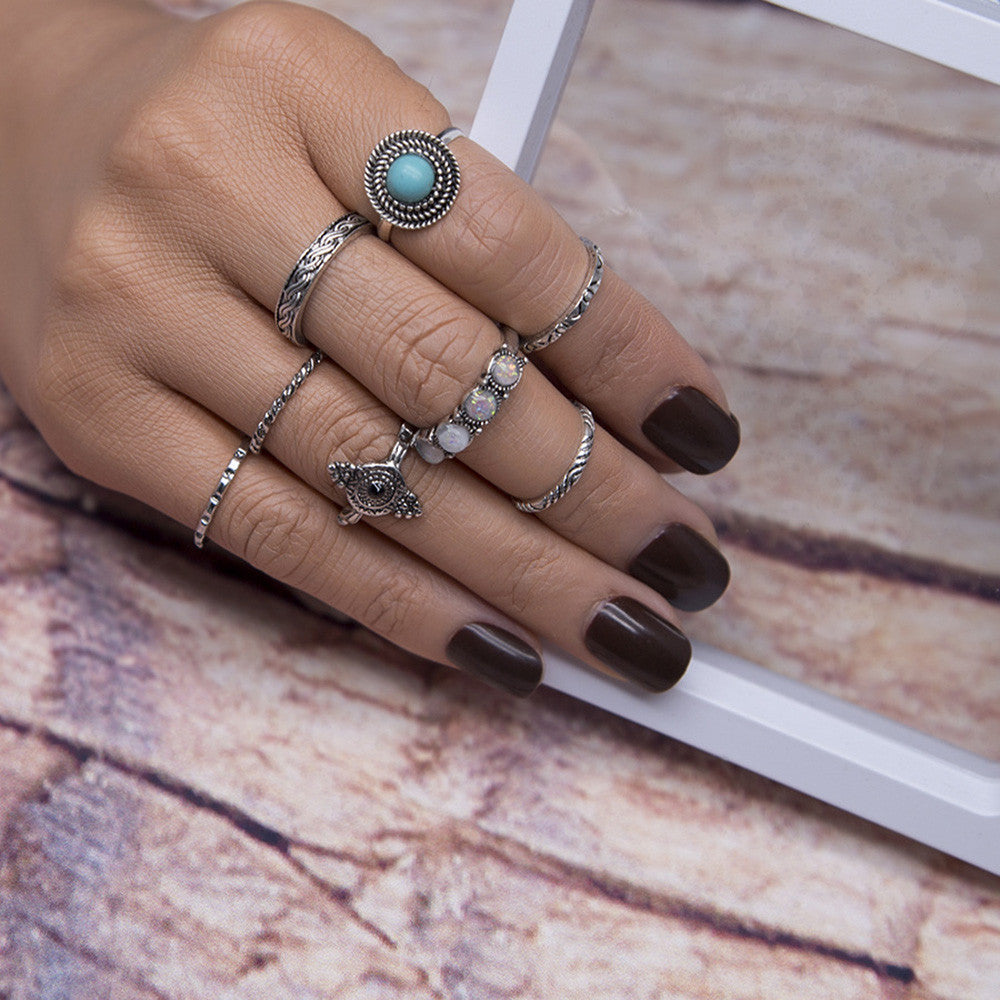 8PCS Vintage Boho Crystal Flower Knuckle Ring Tibetan Turkish - Gisselle Morales