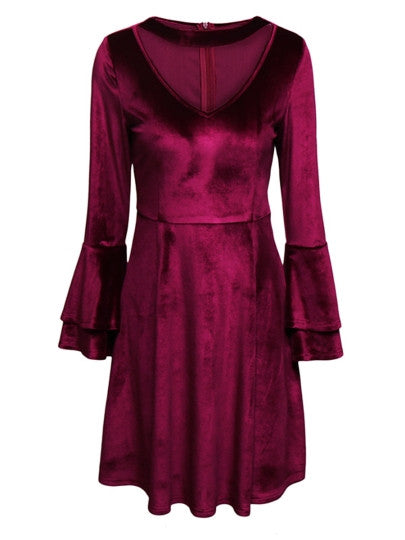 Boho Dress Burgundy Velvet Flare Sleeve Day Dress - Gisselle Morales