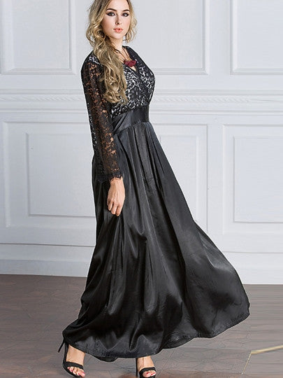 Plus Size Lace Patchwork Maxi Dress