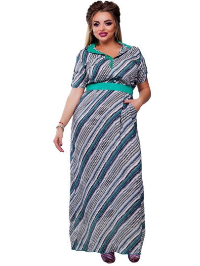 Plus Size Striped Lapel Maxi Dress
