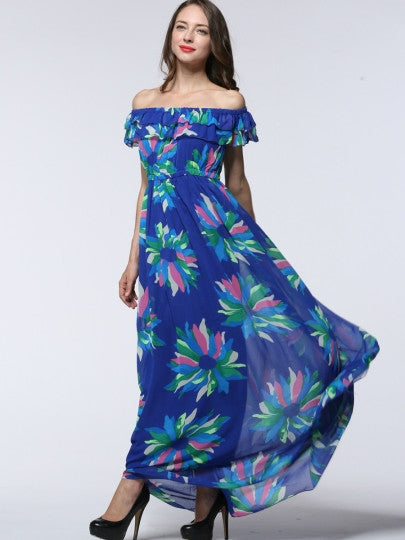 Slash Neck Floral Maxi Dress (Plus Size Available)