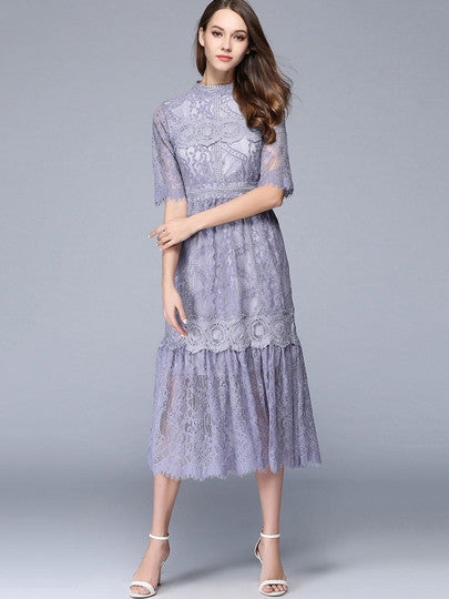 Boho Dress Gray Blue Half Sleeve Lace Dress