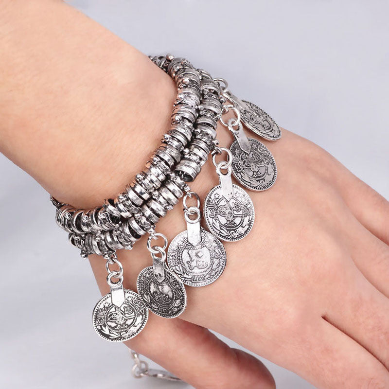 Hot Turkish Jewelry Bohemian Ethnic Vintage Silver Coin Bracelet Anklet