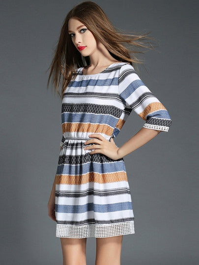 Half Sleeve Color Block Day Dress (Plus Size Available)