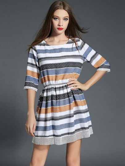 Half Sleeve Color Block Day Dress (Plus Size Available) - Gisselle Morales