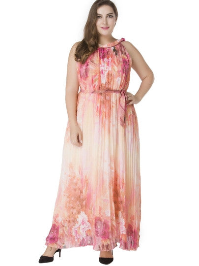Plus Size Pink Pleated Lace up Maxi Dress