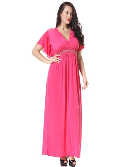 Plain V Neck Plus Size Embroidery Maxi Dress