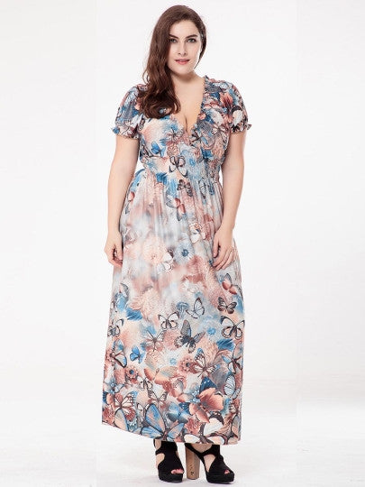 Boho Dress Plus Size Butterfly Printed Maxi Dress - Gisselle Morales