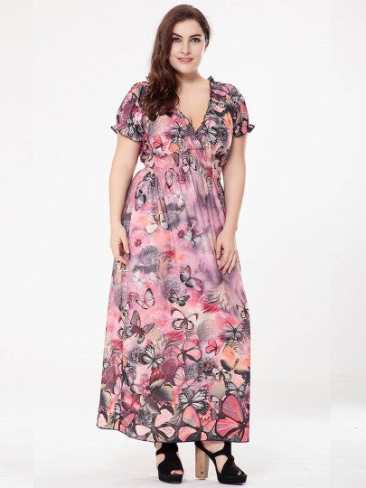 Plus Size Butterfly Printed Maxi Dress - Gisselle Morales