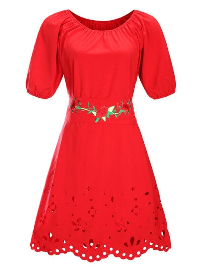 Plus Size Short Sleeve Embroidery Dress - Gisselle Morales