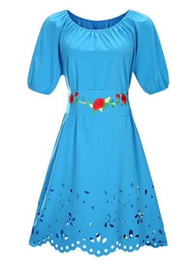 Plus Size Short Sleeve Embroidery Dress