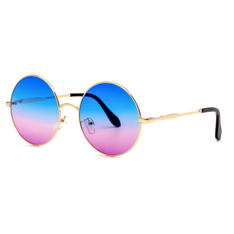 Oversized Round Sunglasses Boho Style Vintage Metal Circle Wrap Sun Glasses