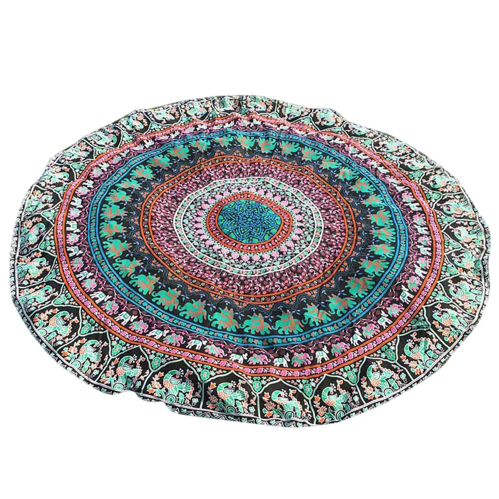 Round Bohemian Hippie Tapestry Beach Picnic Throw Yoga Mat Towel Blanket - Gisselle Morales