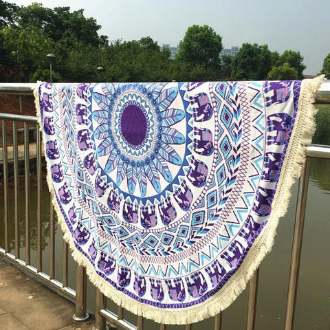 Round Hippie Tassel Tapestry Beach Throw Mandala Towel Yoga Mat Bohemian