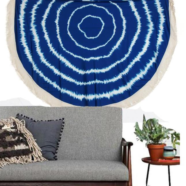 Round Hippie Tassel Tapestry Beach Throw Mandala Towel Yoga Mat Bohemian - Gisselle Morales