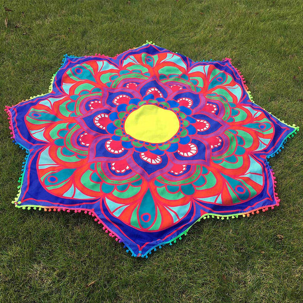 Lotus Hippie Tassel Tapestry Beach Throw Mandala Towel Yoga Mat Bohemian