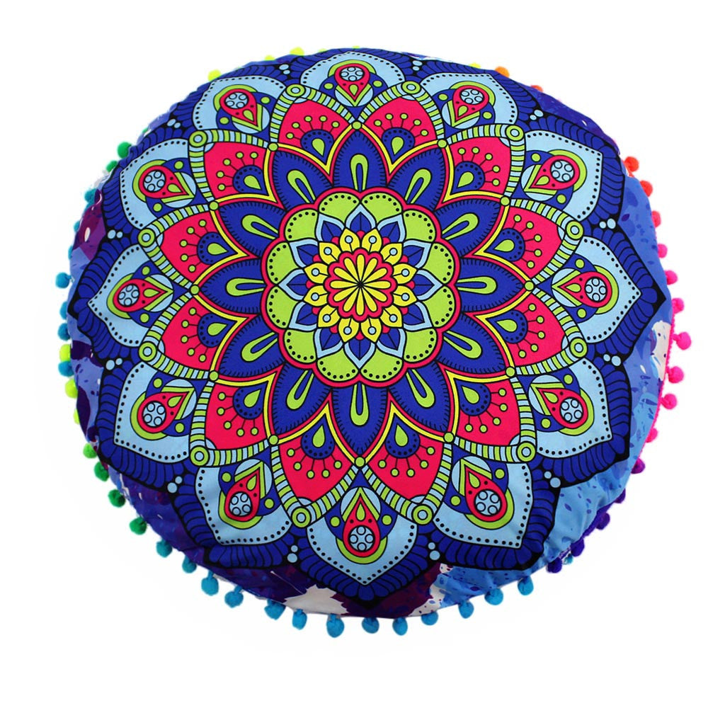 Indian Mandala Floor Pillows Round Bohemian Cushion Pillows Cover Case Cushions - Gisselle Morales