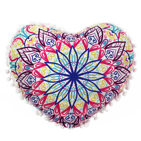 Indian Mandala Pillows Heart Bohemian Home Cushion Pillows Cover Case Cushions