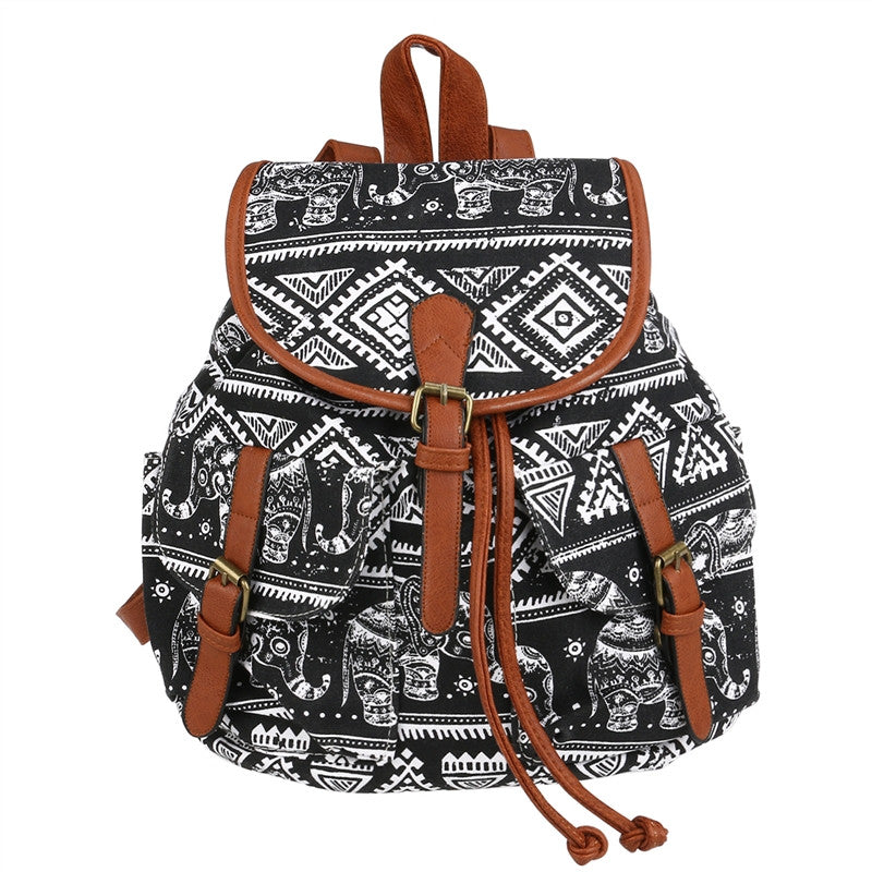 WINOMO Fashion Elephant Print Boho Style Drawstring Canvas Backpack Rucksack School Bag Casual Bag