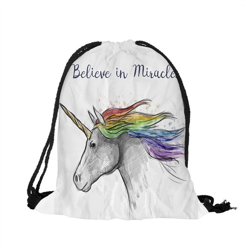 Believe in Miracle Unicorn Print Drawstring Backpack Shoulder Bags Satchel Pouch for Boho Style Boho Style - Gisselle Morales