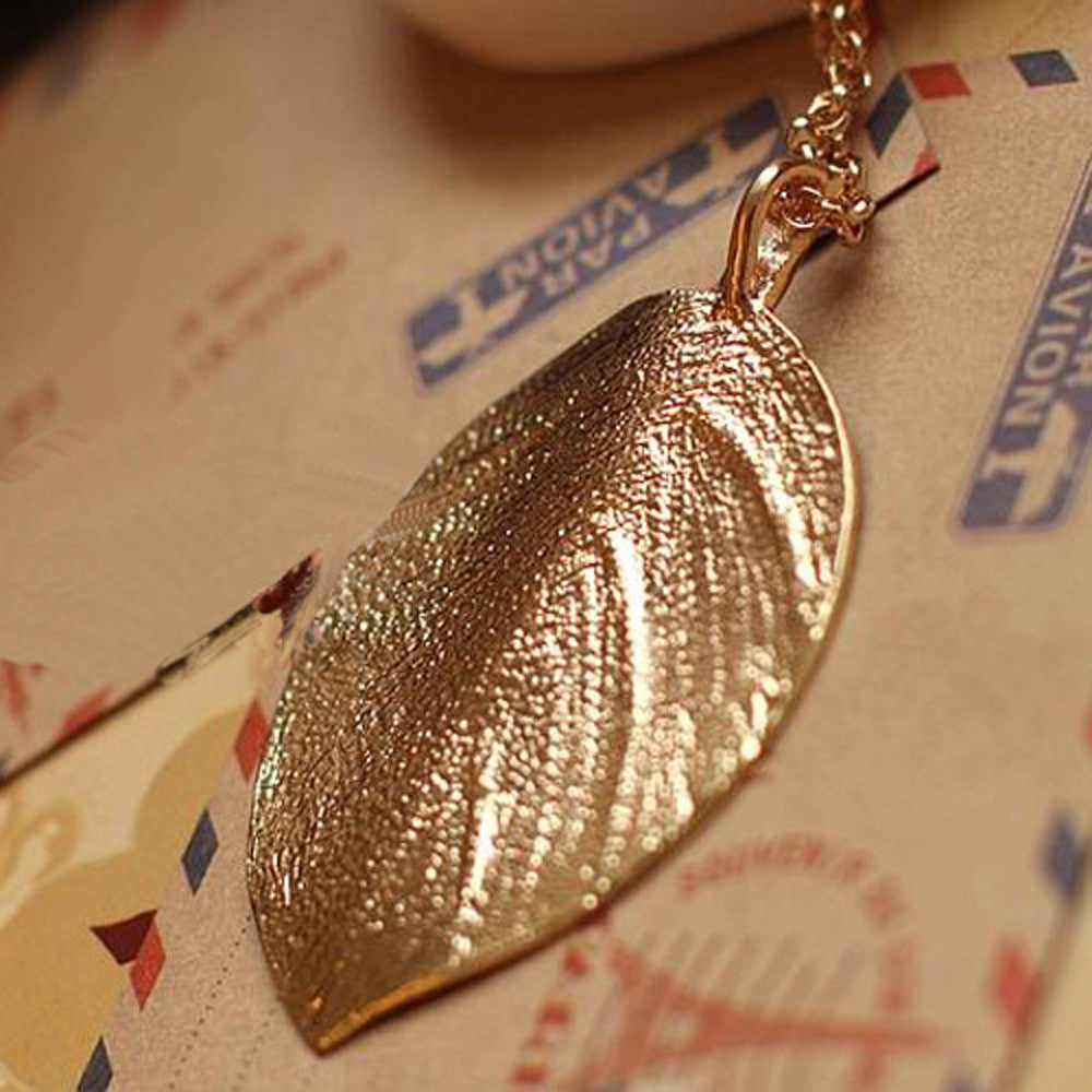 Fashion Boho Styles Charm Golden Leaf Pendant Necklace Long Sweater Chain Jewelry - Gisselle Morales