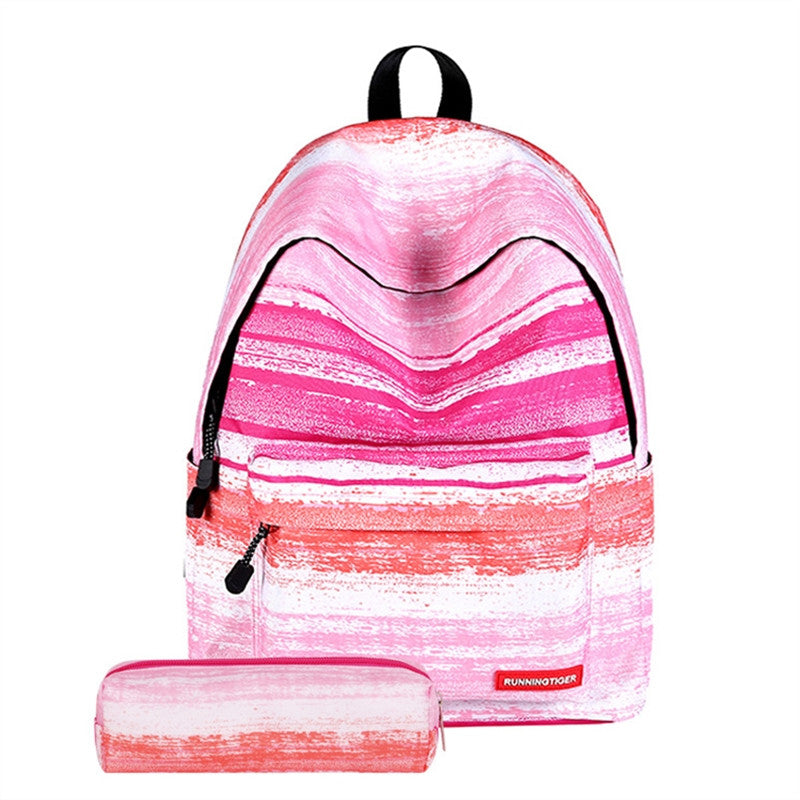 Fashion Boho Style Girls Canvas Travel School Bag Backpack Rucksack with Pen Bag Stripe Design