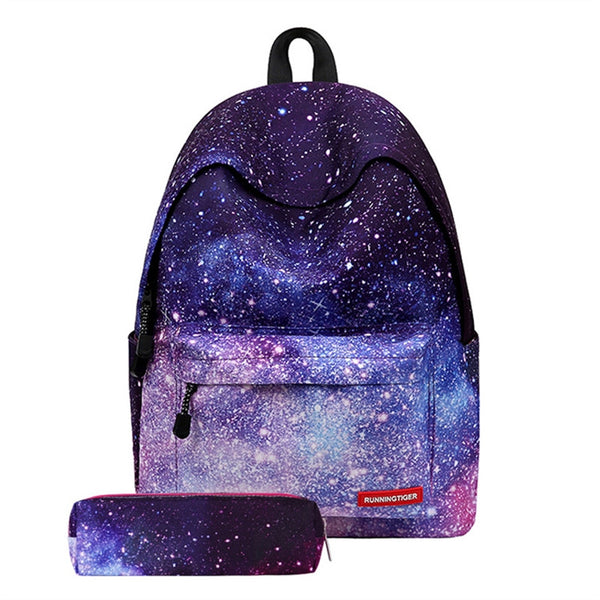 Fashion Boho Style Girls Canvas Travel School Bag Backpack Rucksack with Pen Bag Stripe Design - Gisselle Morales