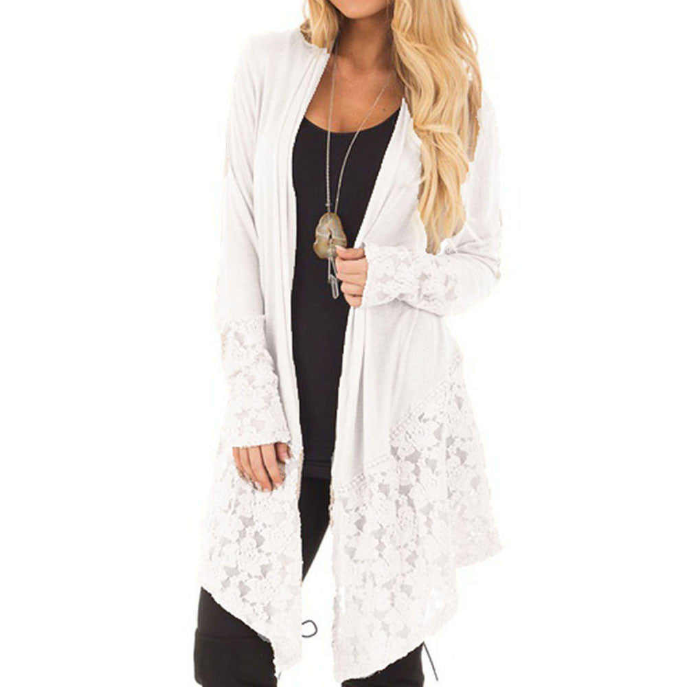 Boho Style Fashion Lace Patchwork Long Sleeve Casual Pure Color Cardigan Coat - Gisselle Morales