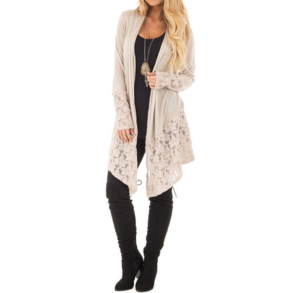 Boho Style Fashion Lace Patchwork Long Sleeve Casual Pure Color Cardigan Coat