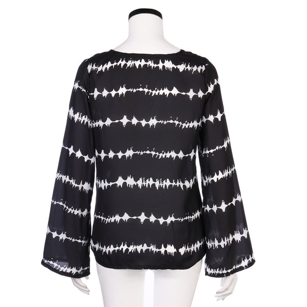 Boho Style Loose Long Sleeve Shirt Stripe Tops Overlapping Chiffon Casual Blouse