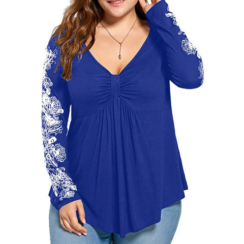 Long Sleeve T-shirt Casual Top Blouse (Plus Size) - Gisselle Morales