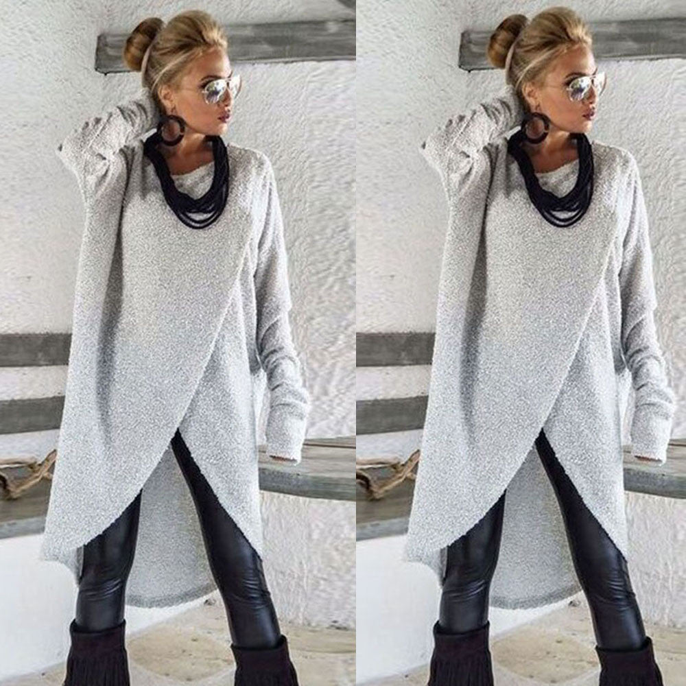 Fashion Boho Styles Irregular Knitting Loose Sweatshirt Pullover Long Tops Blouse