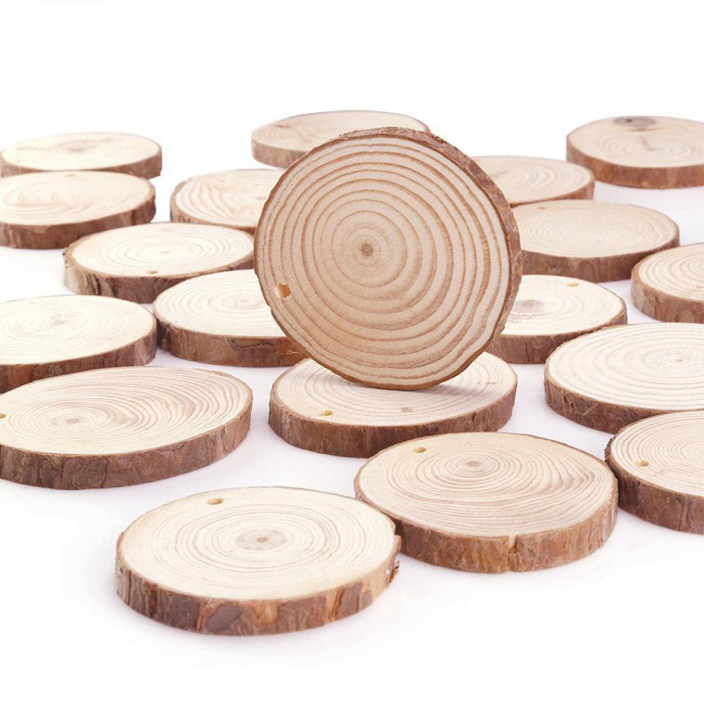 10/24 Pieces 6-7cm Unfinished Predrilled Wood Slices Round Log Discs With 33 Feet - Gisselle Morales