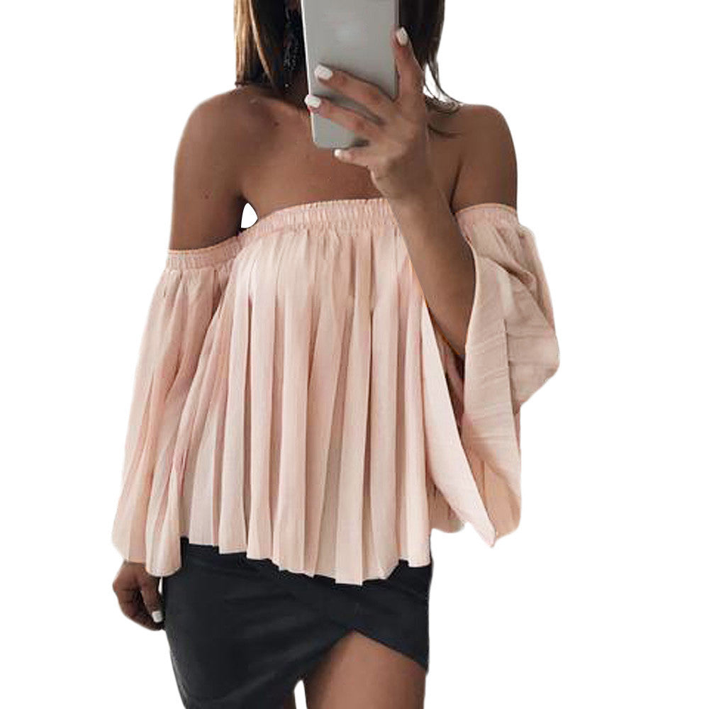Boho Style Tops Off Shoulder Shirt Chiffon Pleated Top Blouse T-shirt