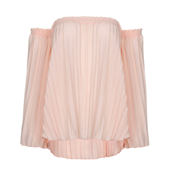 Boho Style Tops Off Shoulder Shirt Chiffon Pleated Top Blouse T-shirt - Gisselle Morales