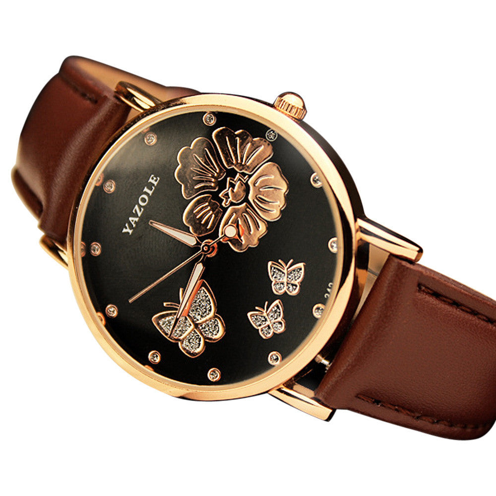 Boho & Hippie Style Watch Butterfly Flower Leather Quartz - Gisselle Morales