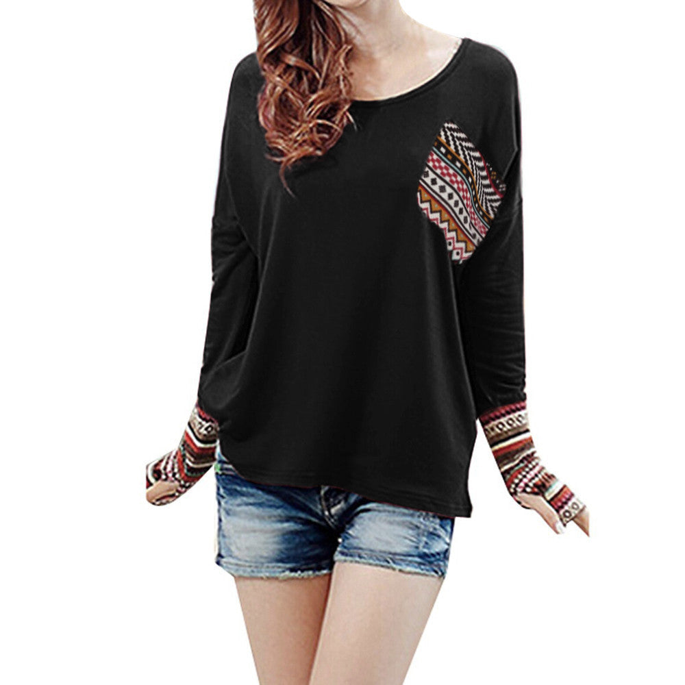 Patchwork Casual Loose T-shirts Blouse Tops With Thumb Holes