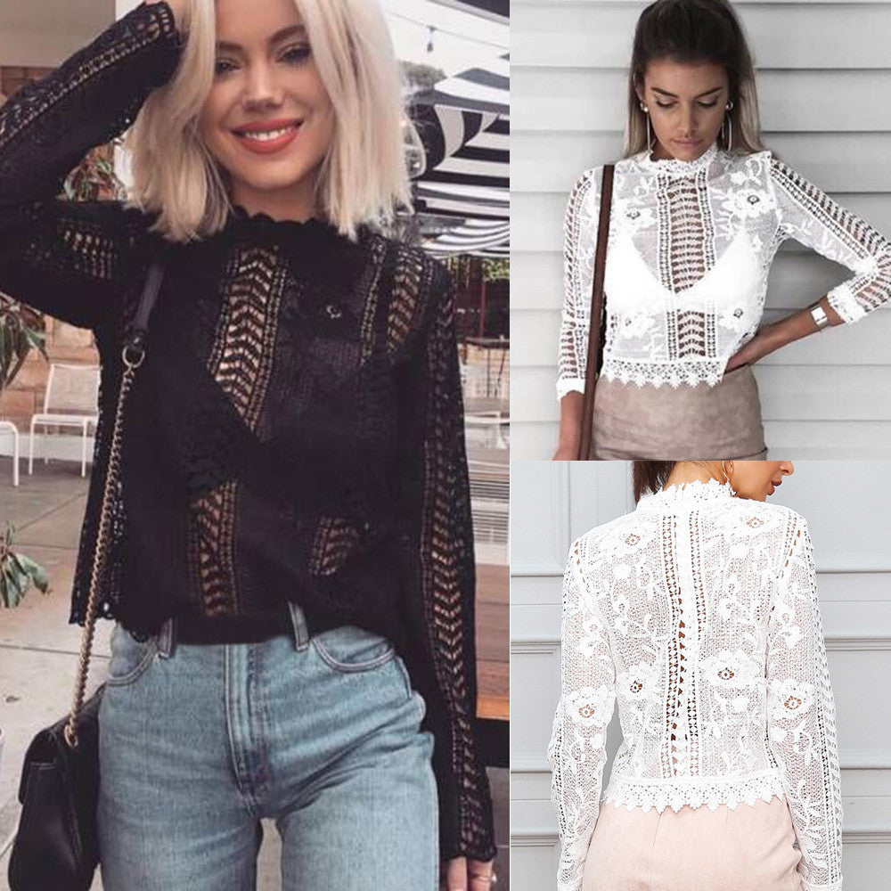 Boho Style Long Sleeve Sexy Lace Floral Shirt Tops Hollow-out Female Blouse - Gisselle Morales