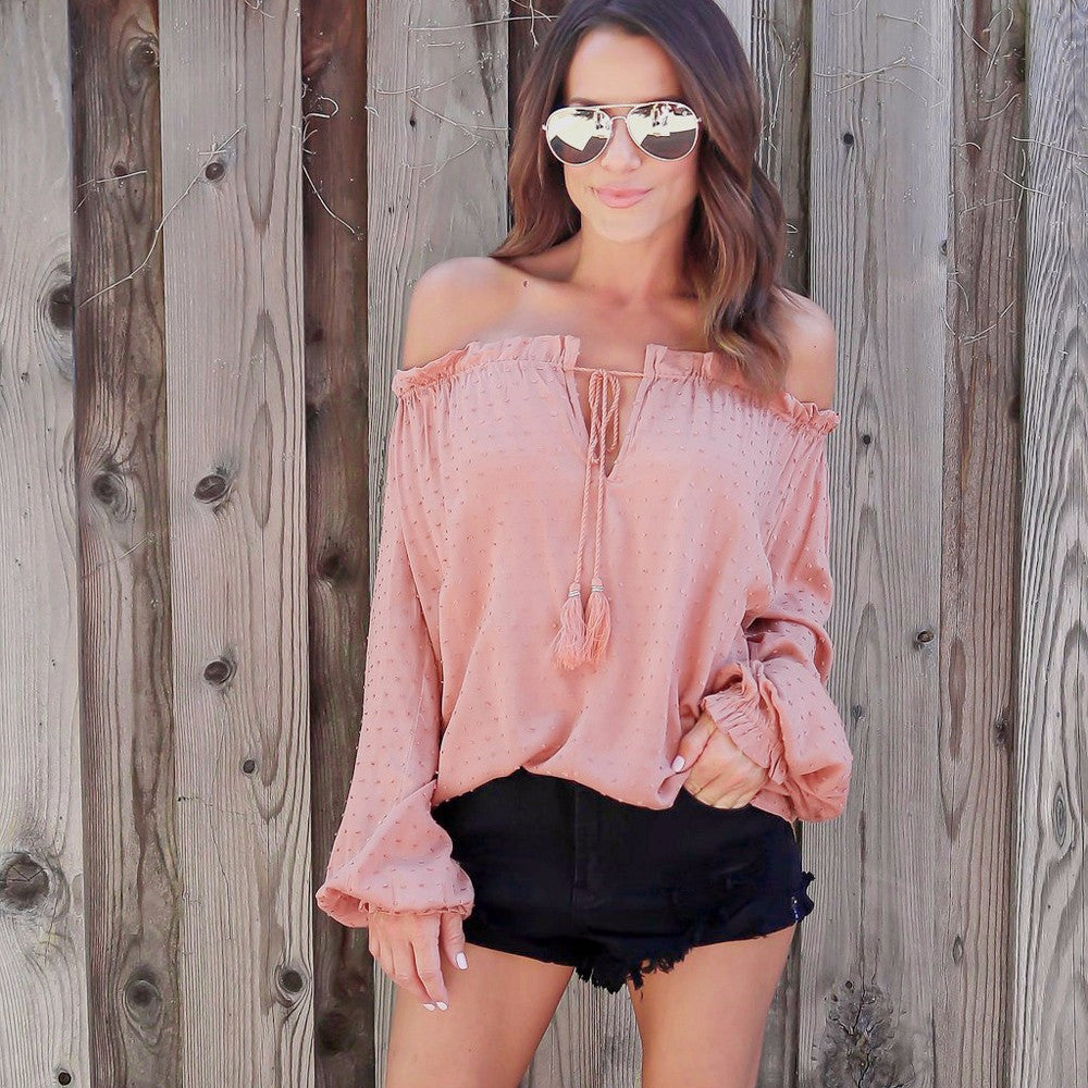 Hollow Boho Style Sexy Off Shoulder Top Causal Strapless Blouse Black Shirt - Gisselle Morales