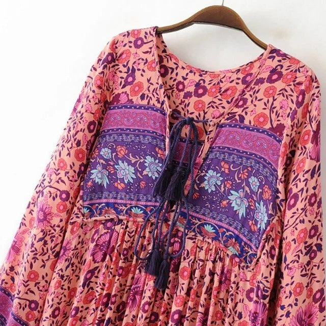 Maxi Long Boho Dress Long Sleeve