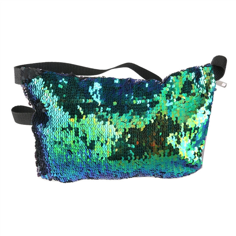 Double Color Sequins Waist Bag Casual Outdoor Sports Bag - Gisselle Morales