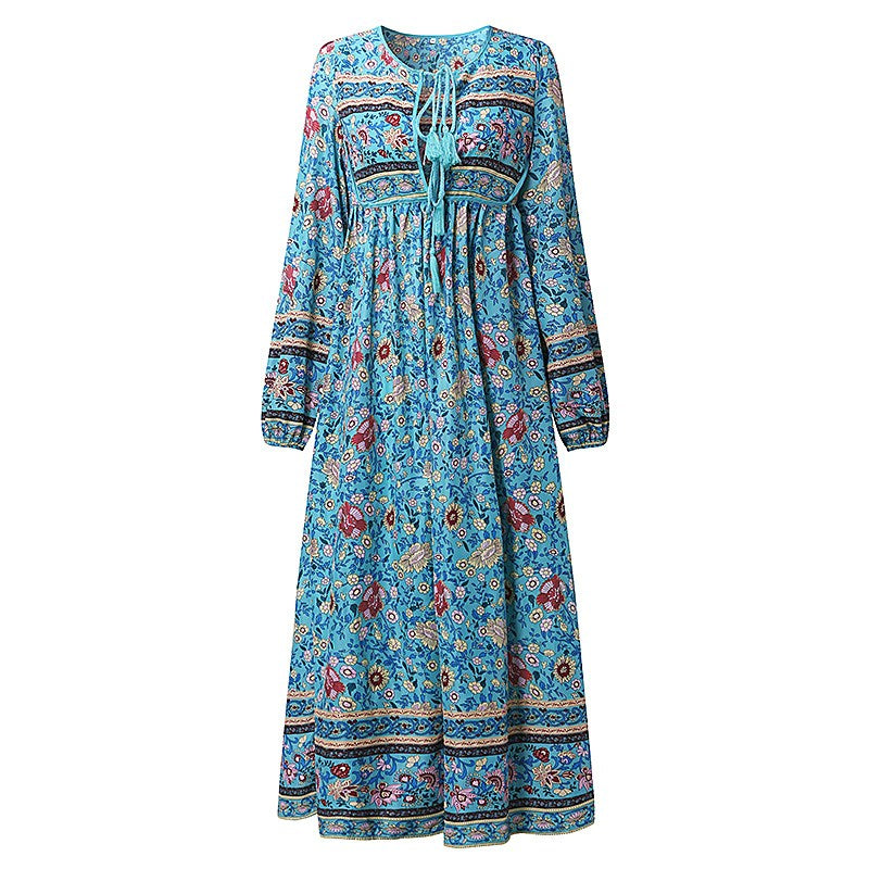 Boho Floral Print Chiffon Dress ( Plus Size Up To 5XL)