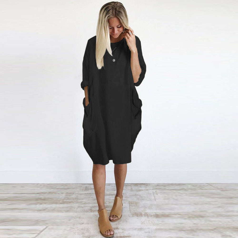 Pocket Loose Dress Crew Neck Casual Long Top - Gisselle Morales