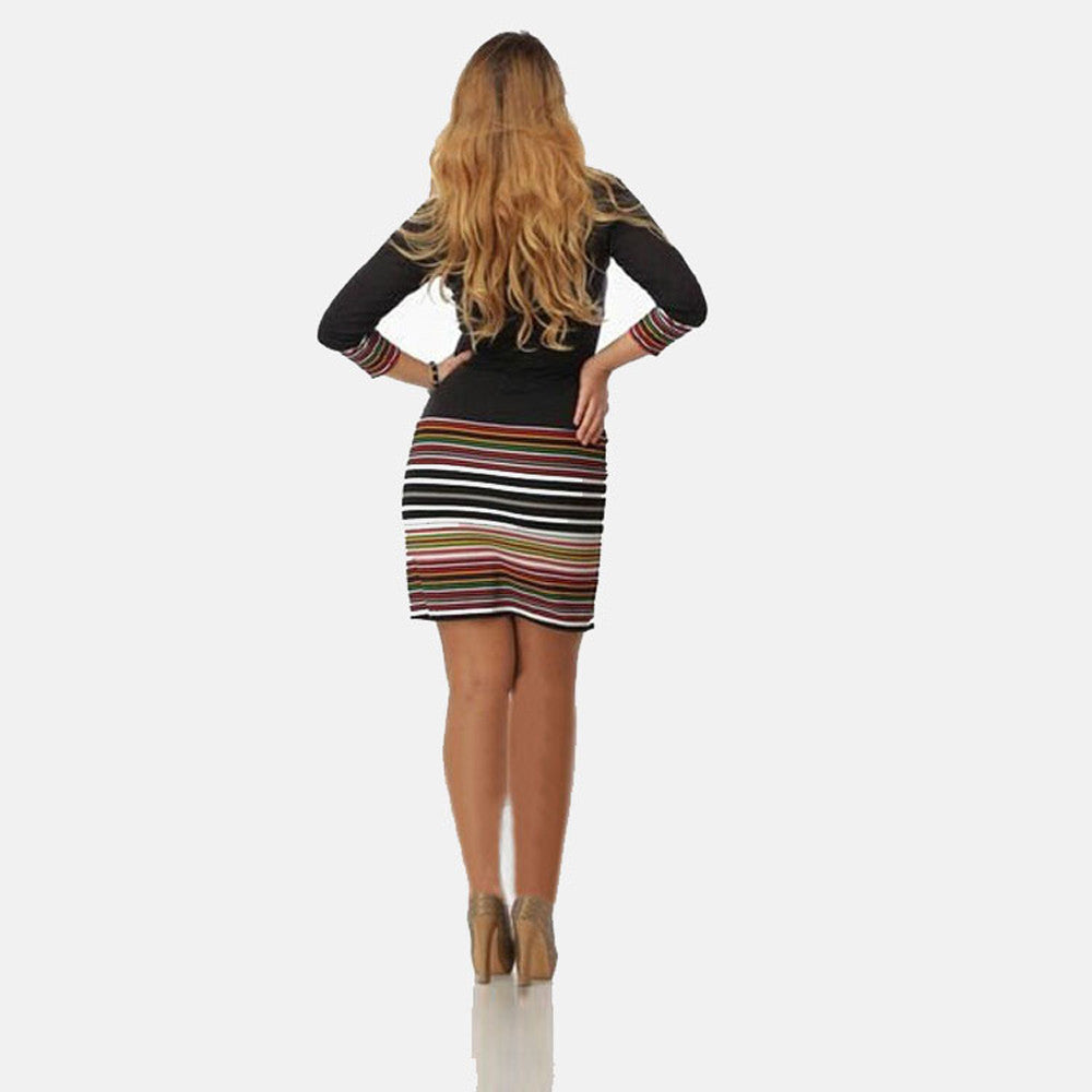 Ladies Boho Styles Striped Maxi Boho Long Sleeve Dress Evening Party Dress - Gisselle Morales